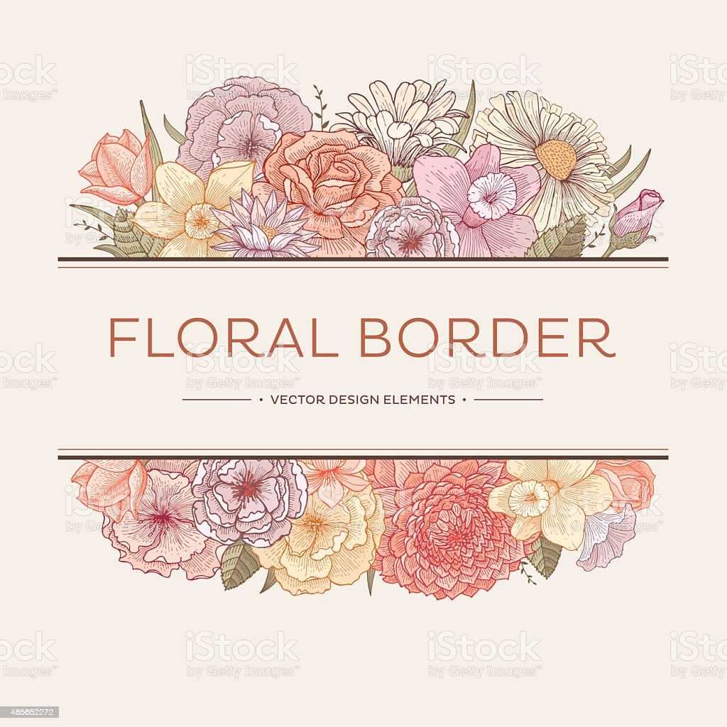 Blooming borders vector art illustration