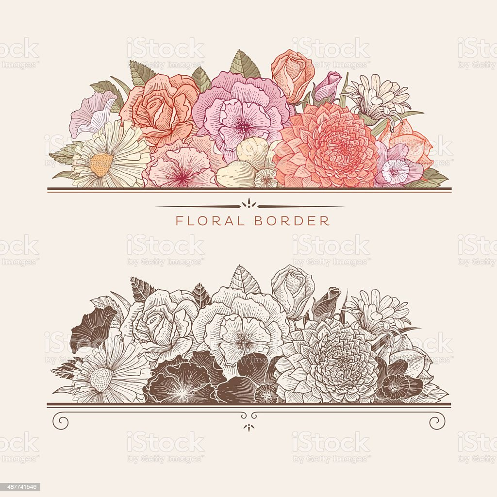Blooming floral borders vector art illustration