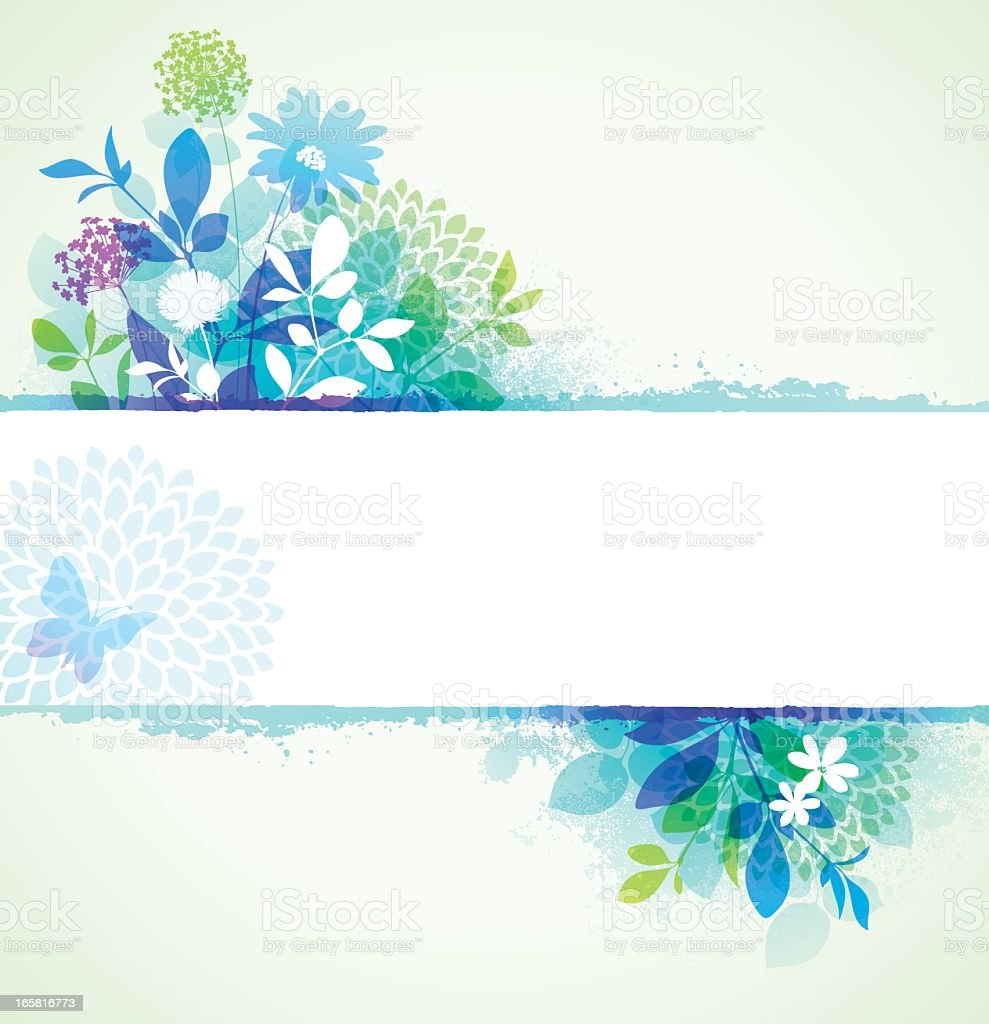 Blooming flowers and butterfly design with blue outline royalty-free stock vector art