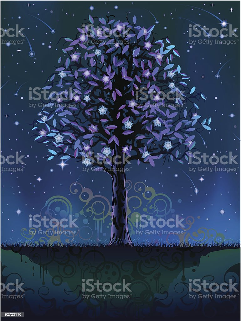 Blooming night tree royalty-free stock vector art