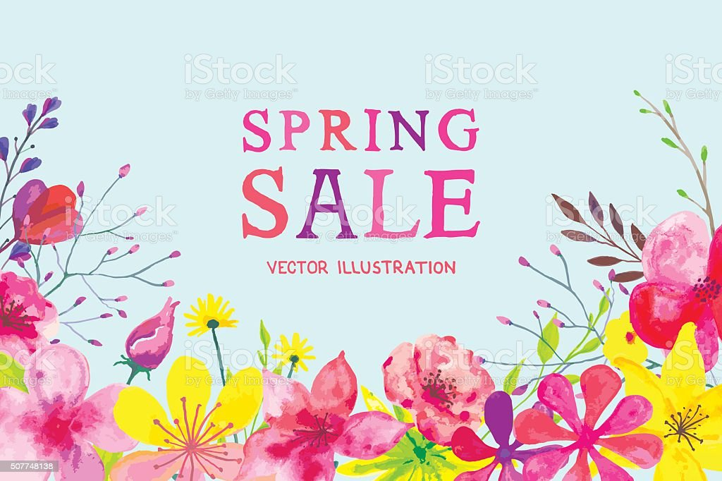 Blooming Spring Banner vector art illustration