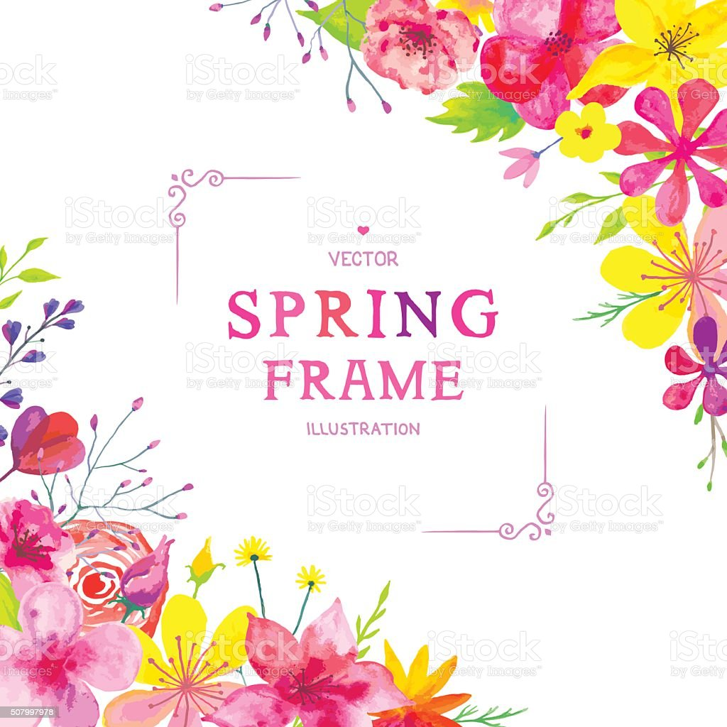 Blooming Spring Corners vector art illustration