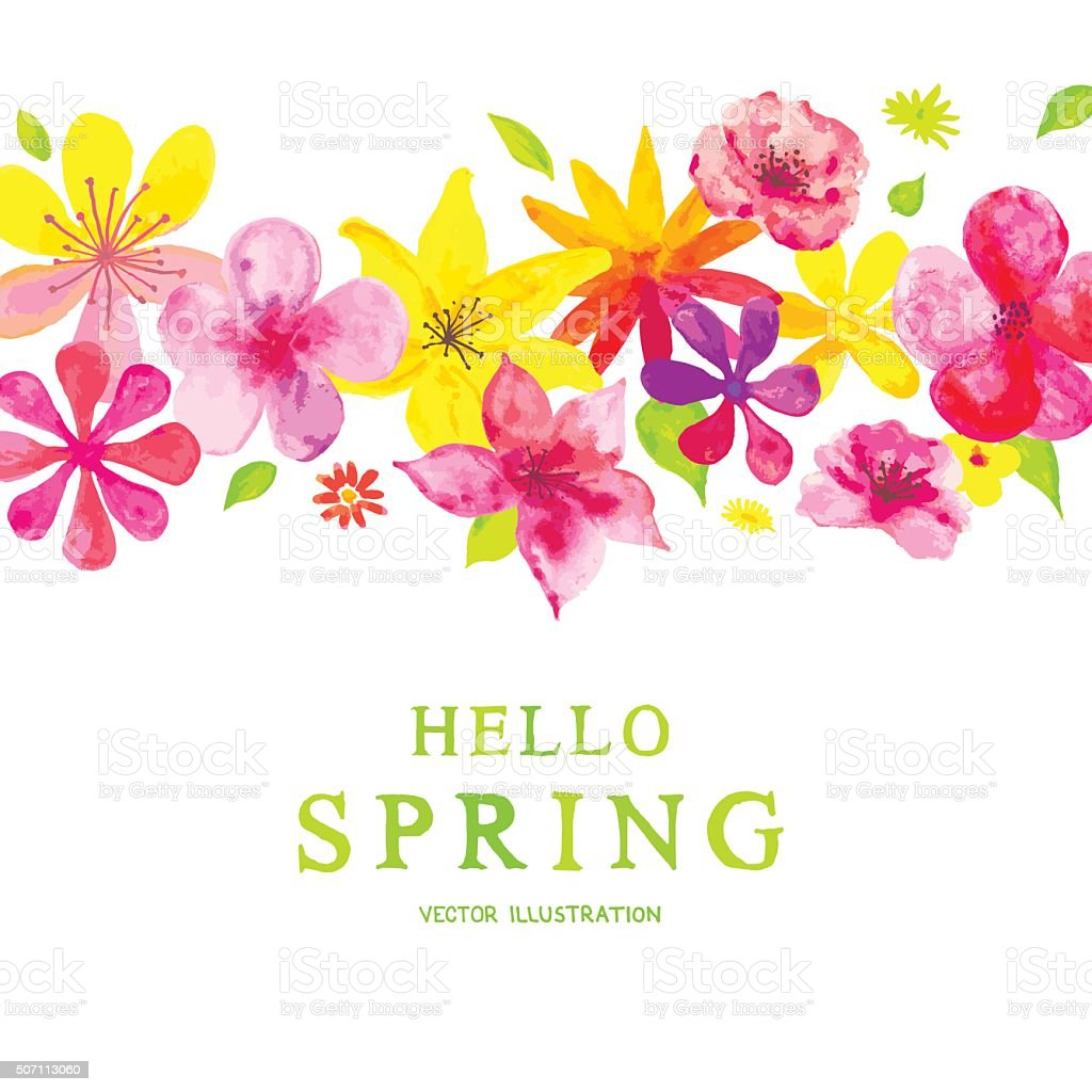 Blooming spring decoration vector art illustration