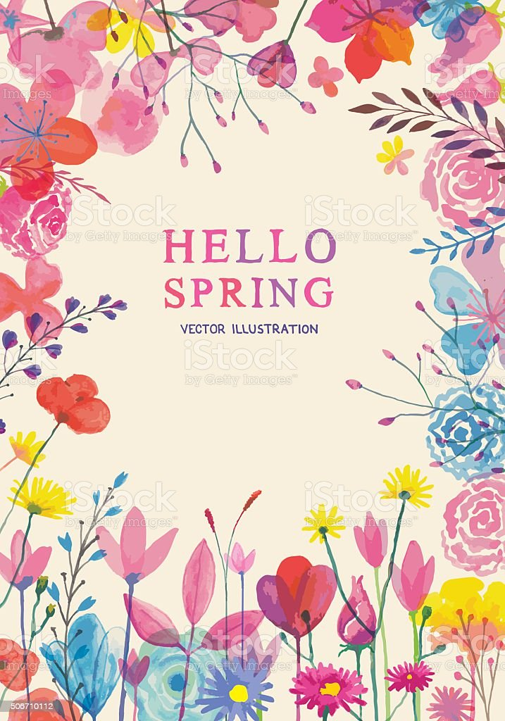 Blooming spring frame vector art illustration