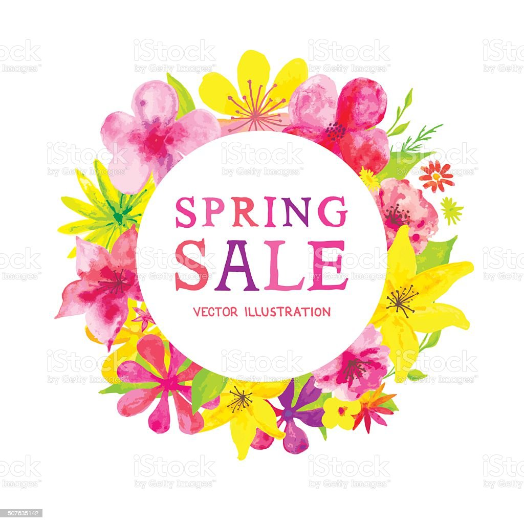 Blooming Spring Sale vector art illustration