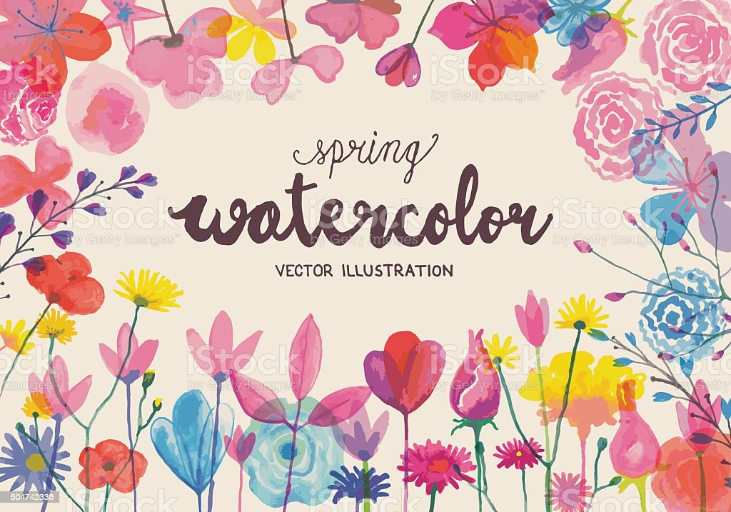 Blooming watercolors vector art illustration