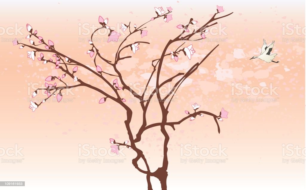 Blossom and Bird royalty-free stock vector art