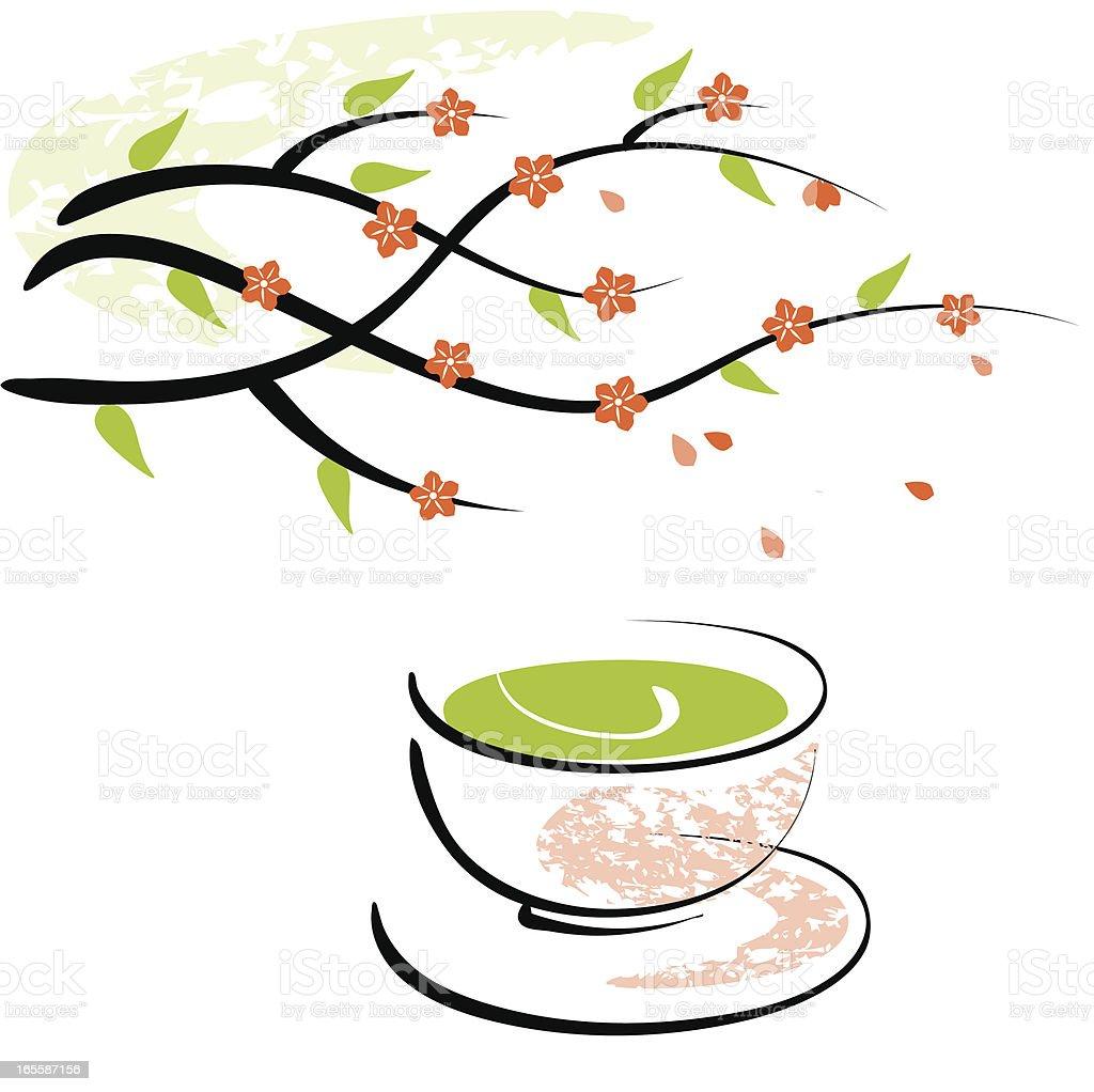 Blossom and green tea cup vector art illustration