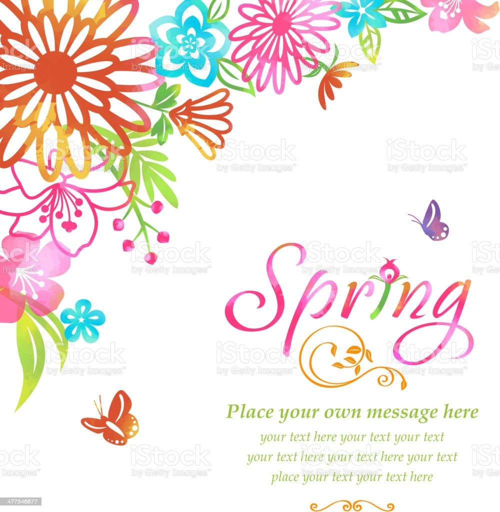 Blossom into Spring Flowers Corner vector art illustration