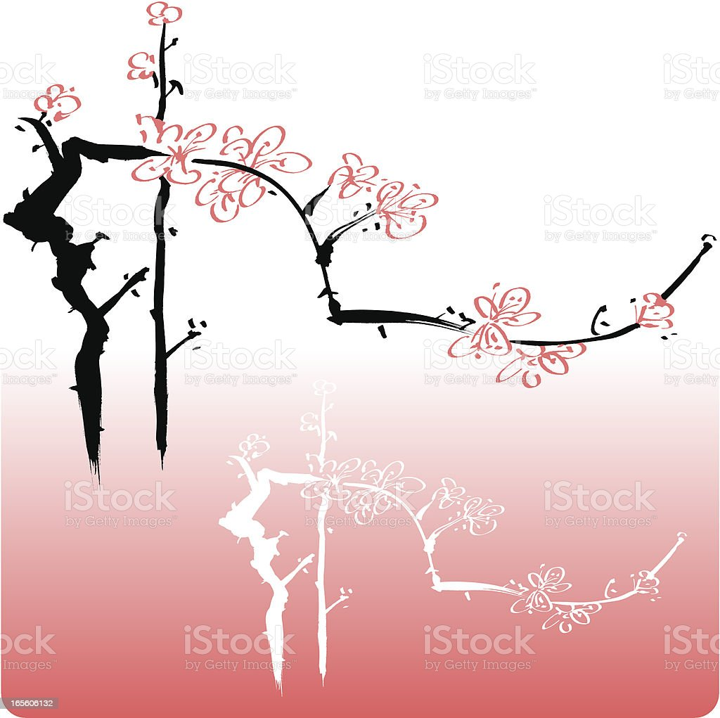 Blossom, Oriental style painting royalty-free stock vector art