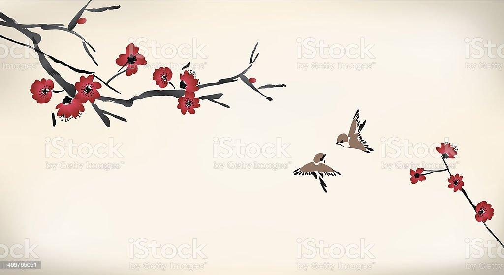 blossom painting vector art illustration