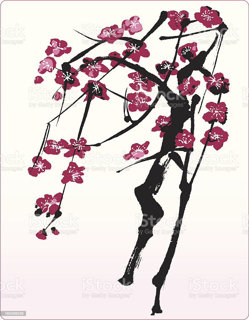 Blossom Tree - Oriental Style Painting royalty-free stock vector art