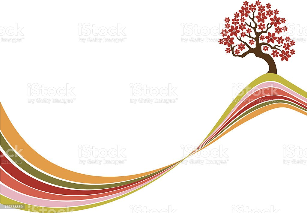 Blossomed tree on the top vector art illustration