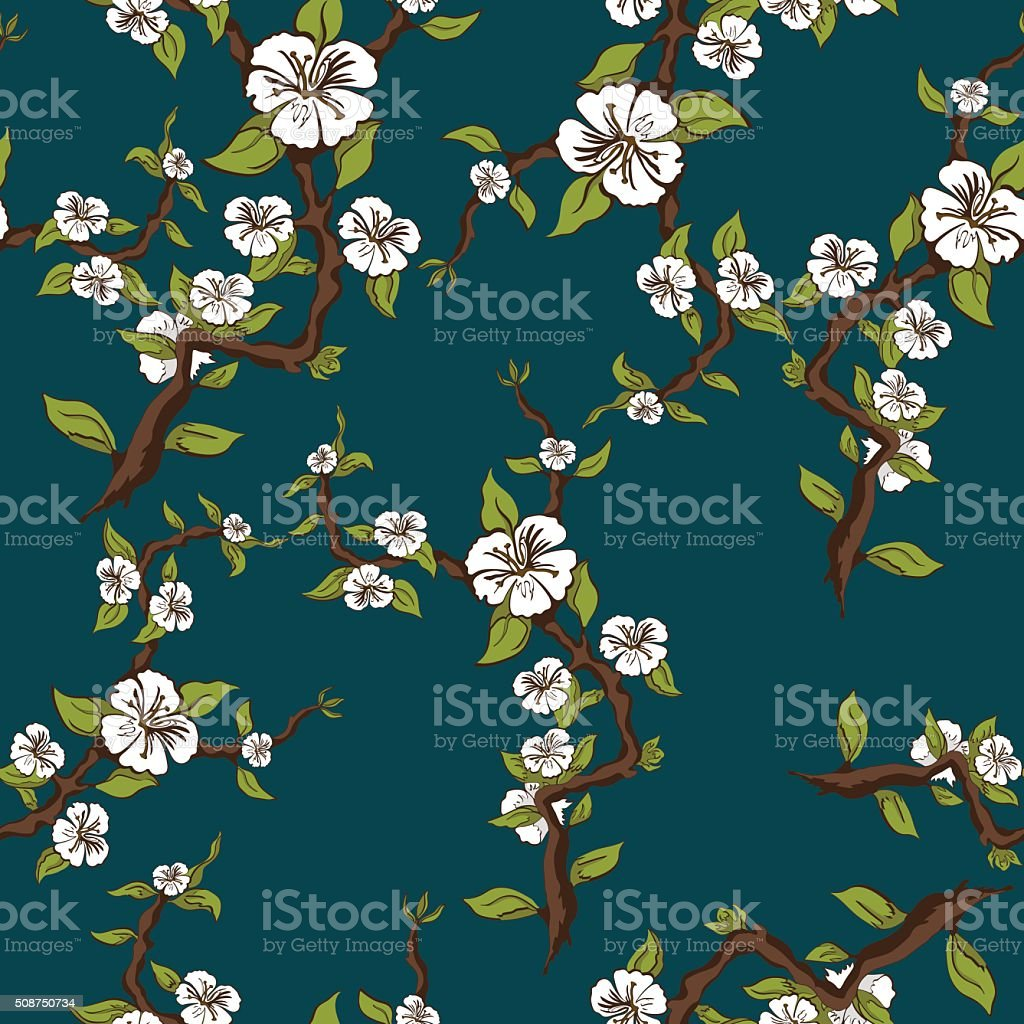 Blossoming apple seamless pattern. Apple tree branch with white flowers royalty-free stock vector art