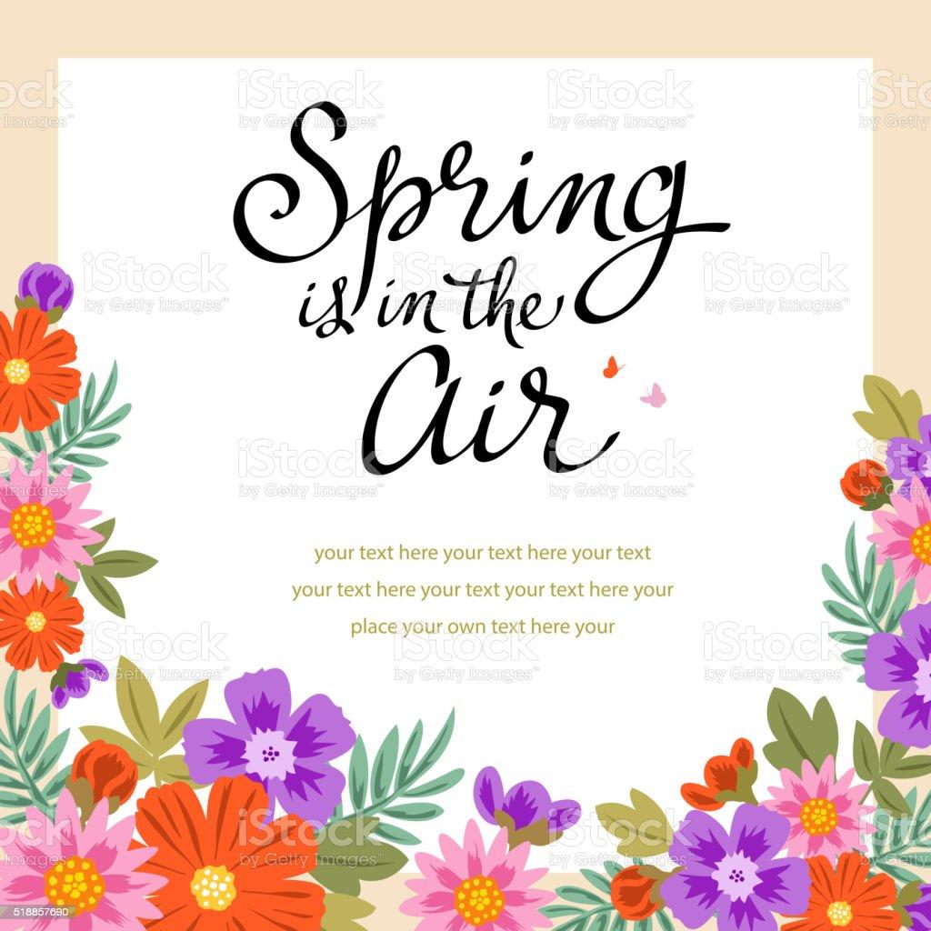 Blossoming Flowers Frame vector art illustration