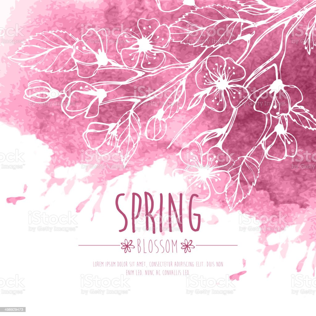 Blossoming Spring Branch. Vector illustration vector art illustration