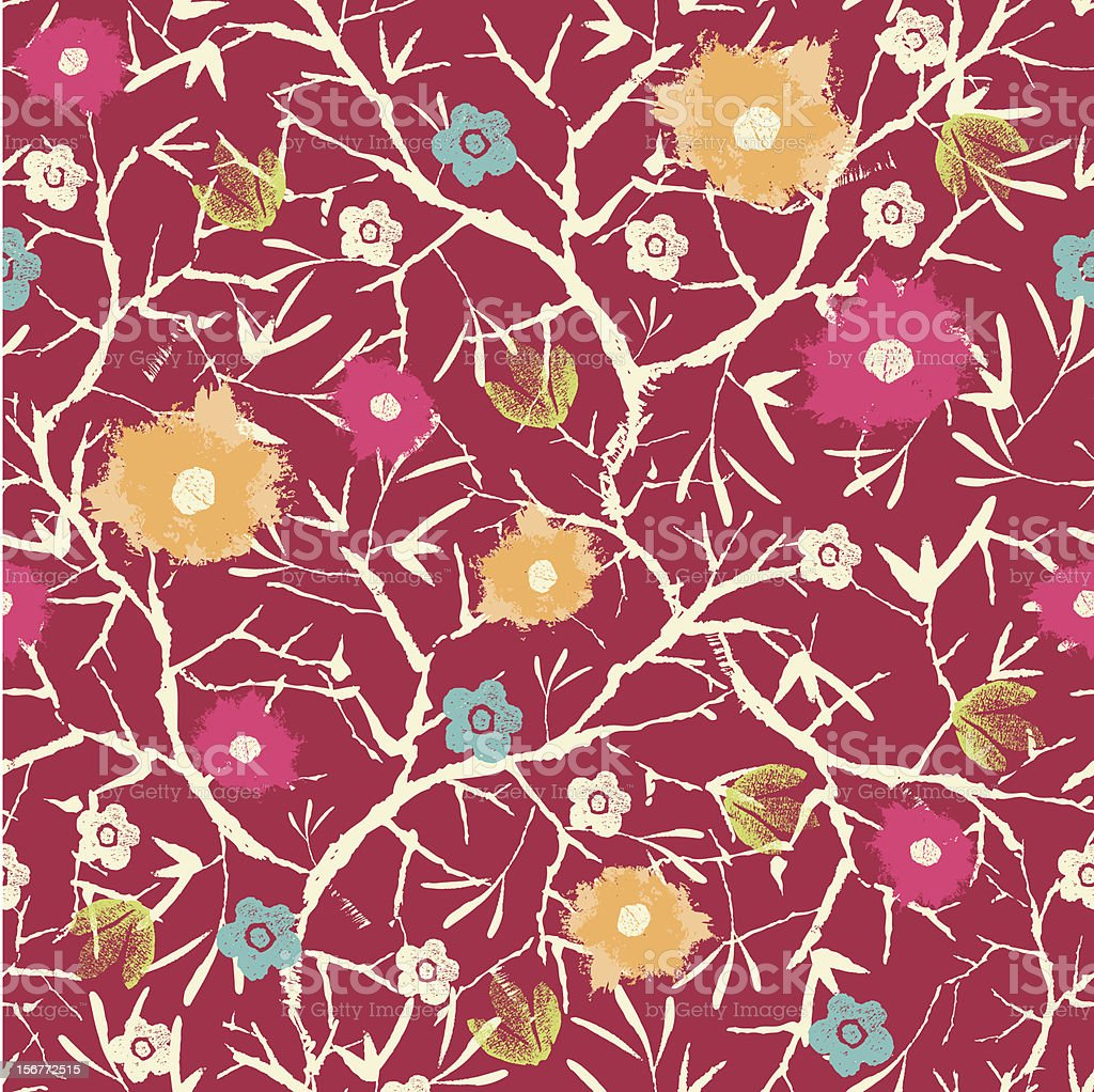 Blossoming Tree Painted Seamless Pattern Background royalty-free stock vector art