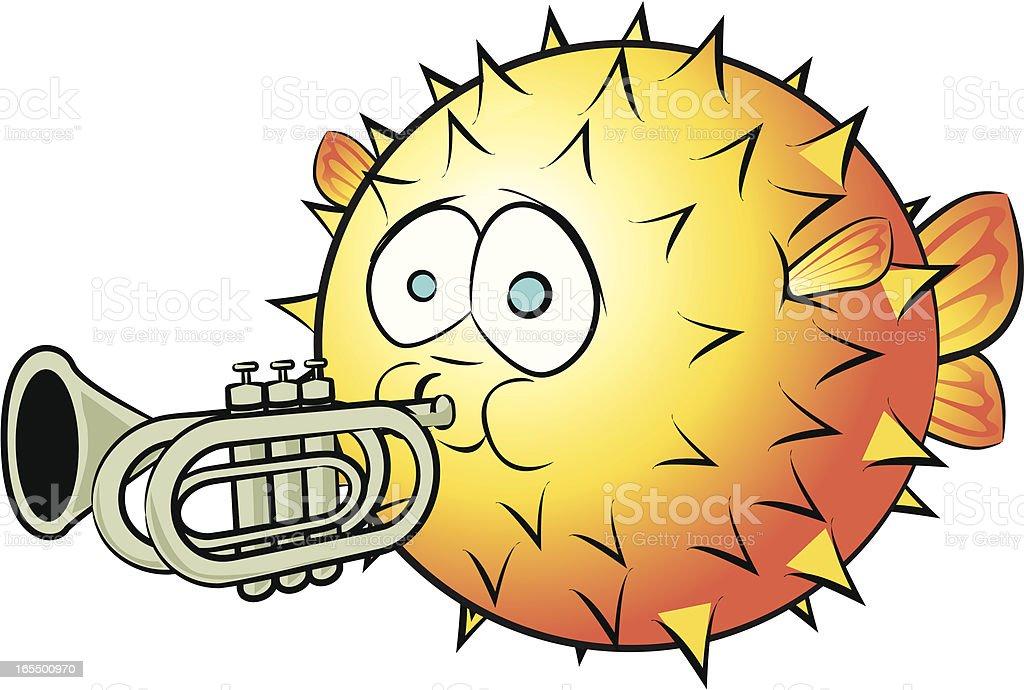 Blowfish and Trumpet Cartoon royalty-free stock vector art
