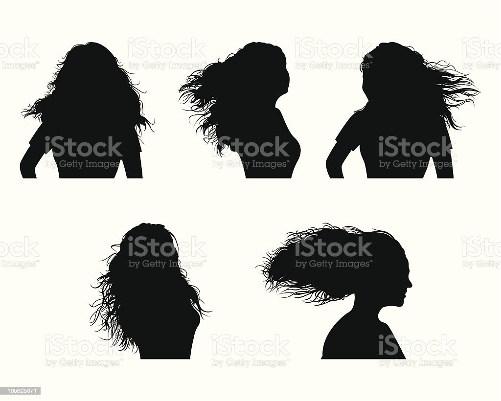 blowing hairs royalty-free stock vector art