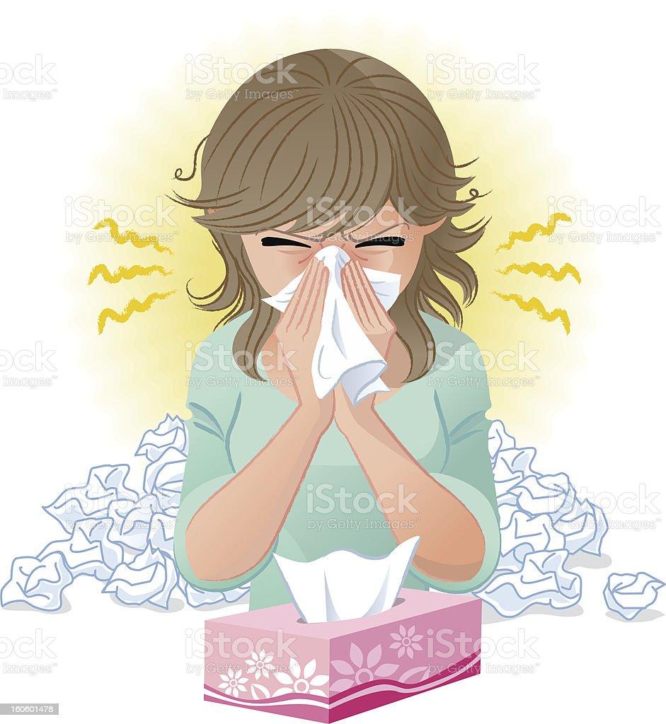 Blowing nose vector art illustration
