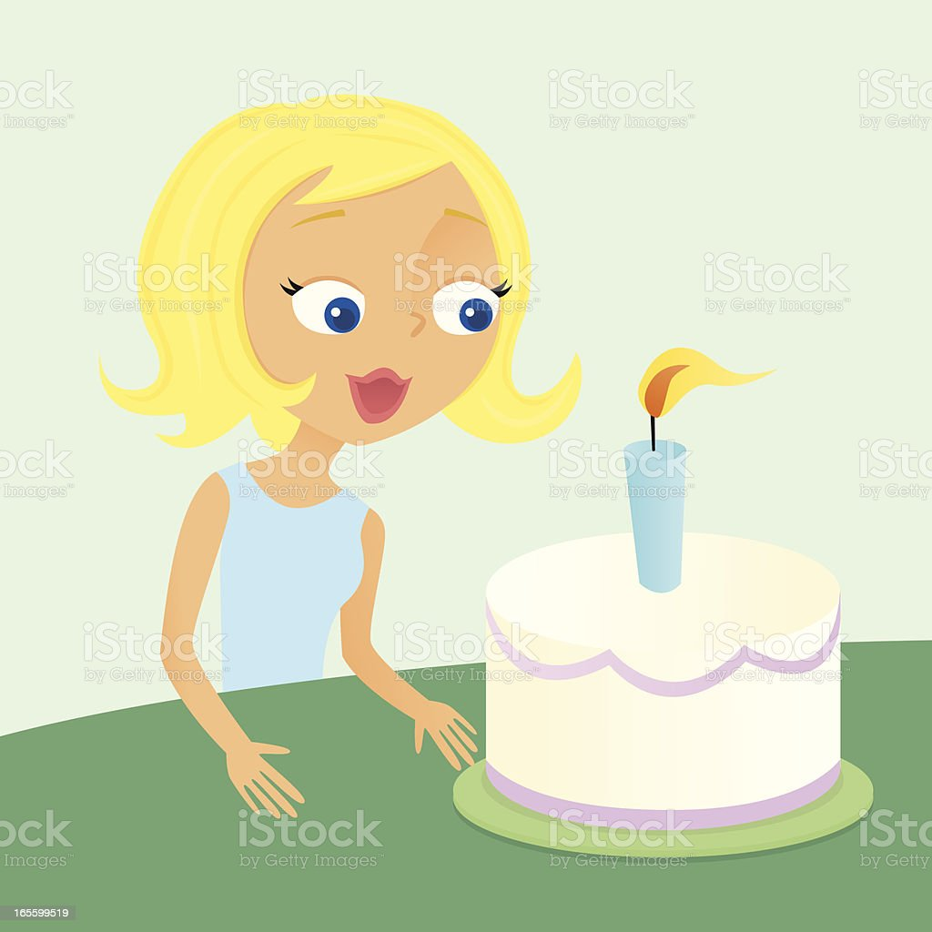 Blowing Out the Candle vector art illustration