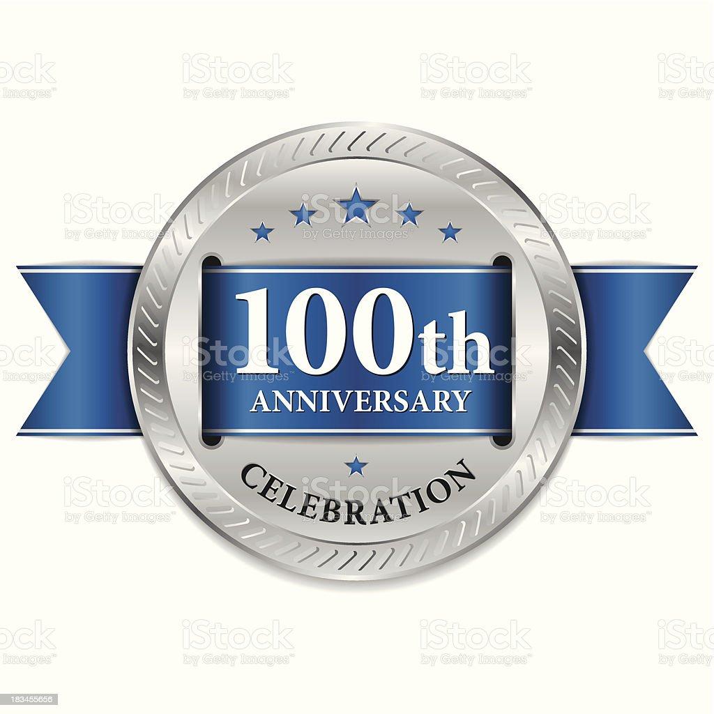 Blue 100th anniversary seal vector art illustration