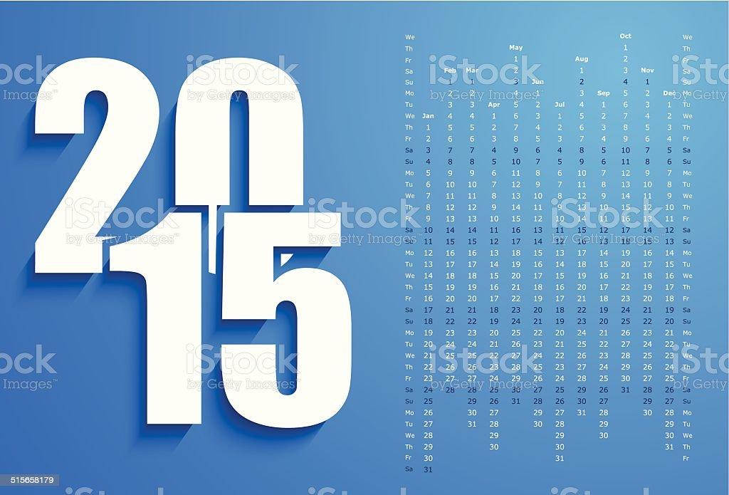 Bleu calendrier 2015 stock vecteur libres de droits libre de droits