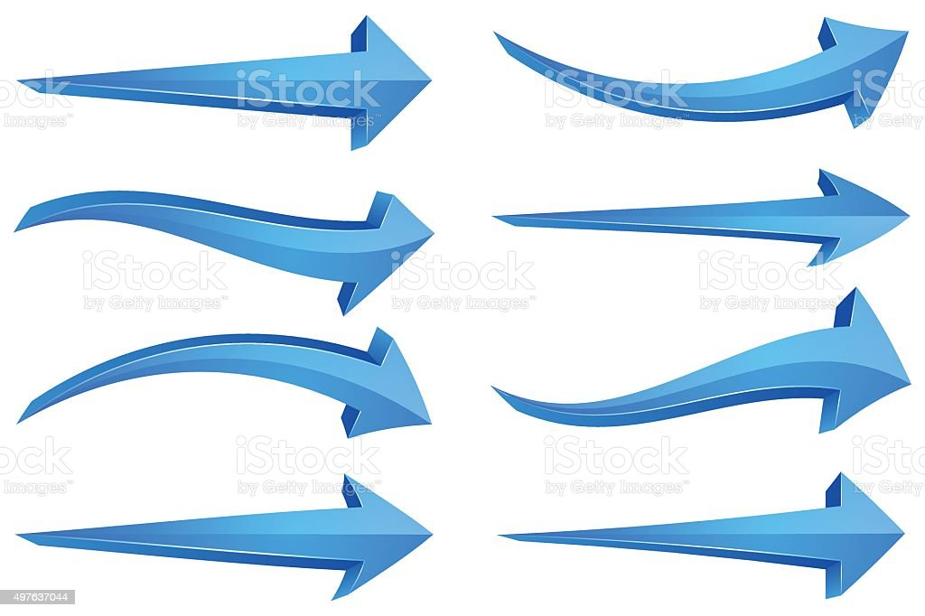 Blue 3D Arrows vector art illustration