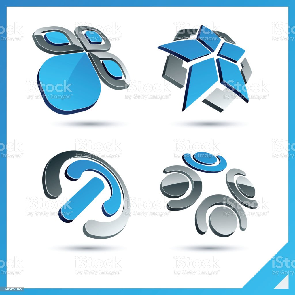 Blue 3d company signs. royalty-free stock vector art