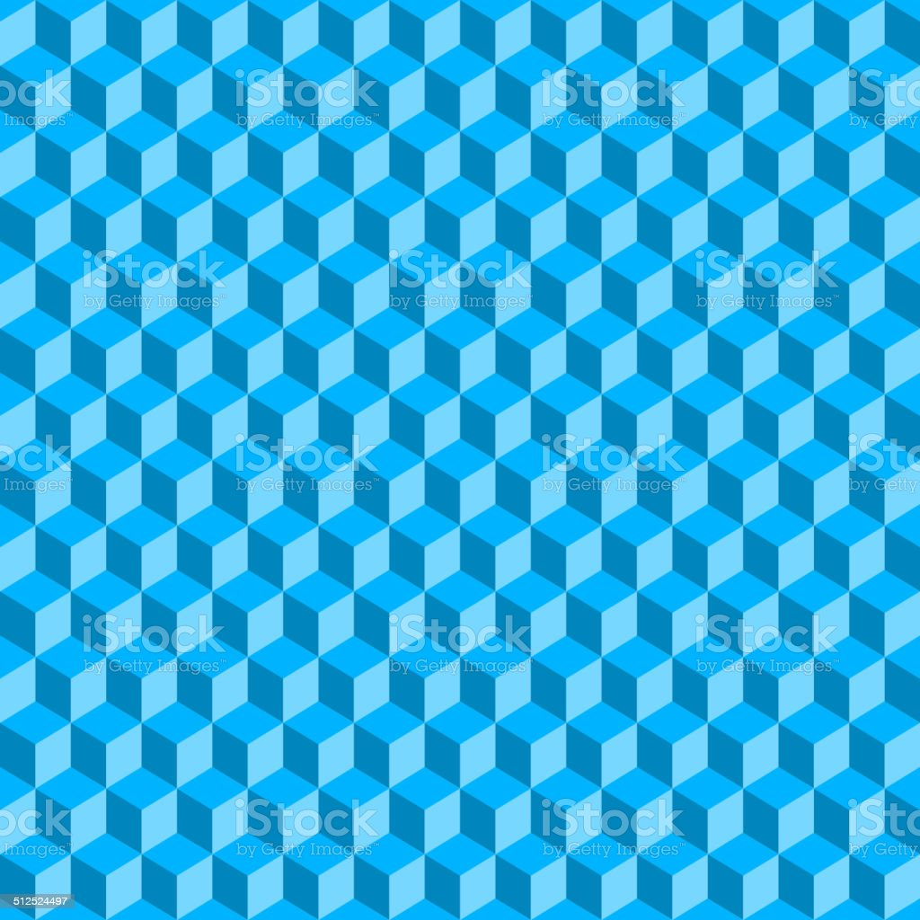 Blue 3D Cubes Abstract Seamless Background. Vector royalty-free stock vector art