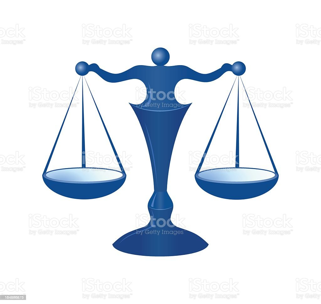 Blue 3D vector illustration of justice scales royalty-free stock vector art