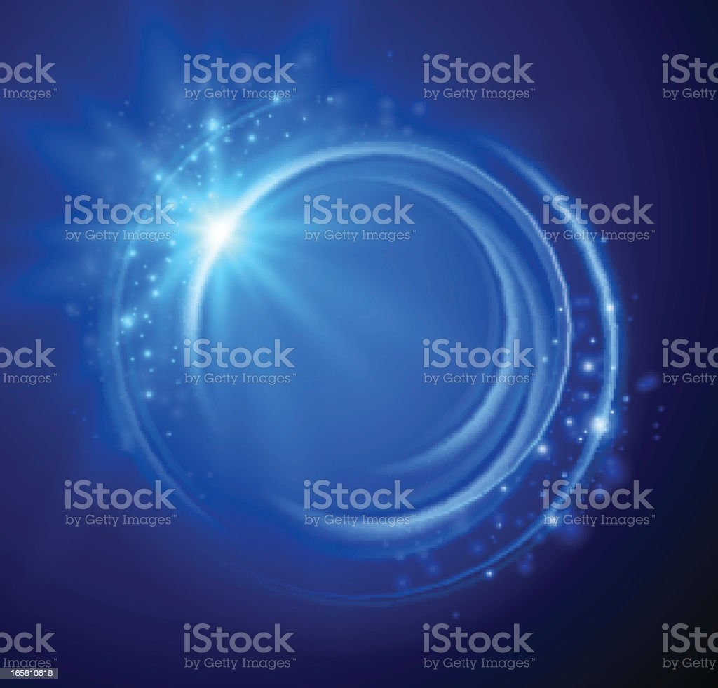 Blue abstract background with a swirl and sparkles  vector art illustration