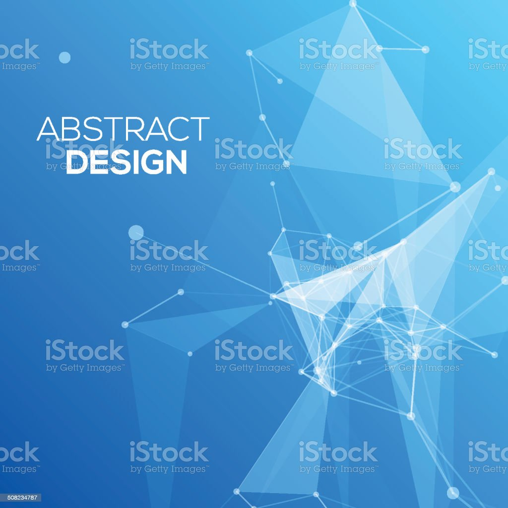 Blue Abstract Mesh Background with Circles, Lines and Shapes vector art illustration