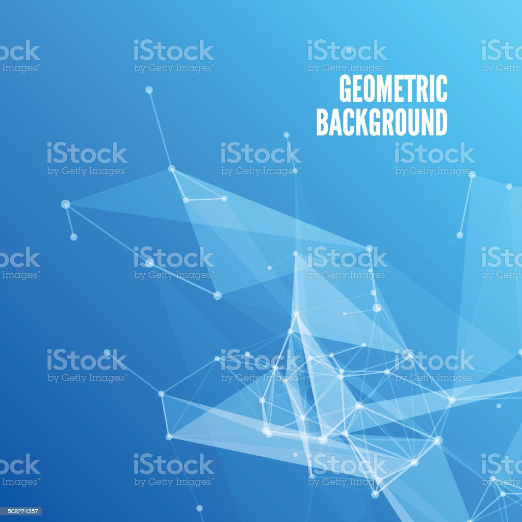 Blue Abstract Mesh Background with Circles vector art illustration