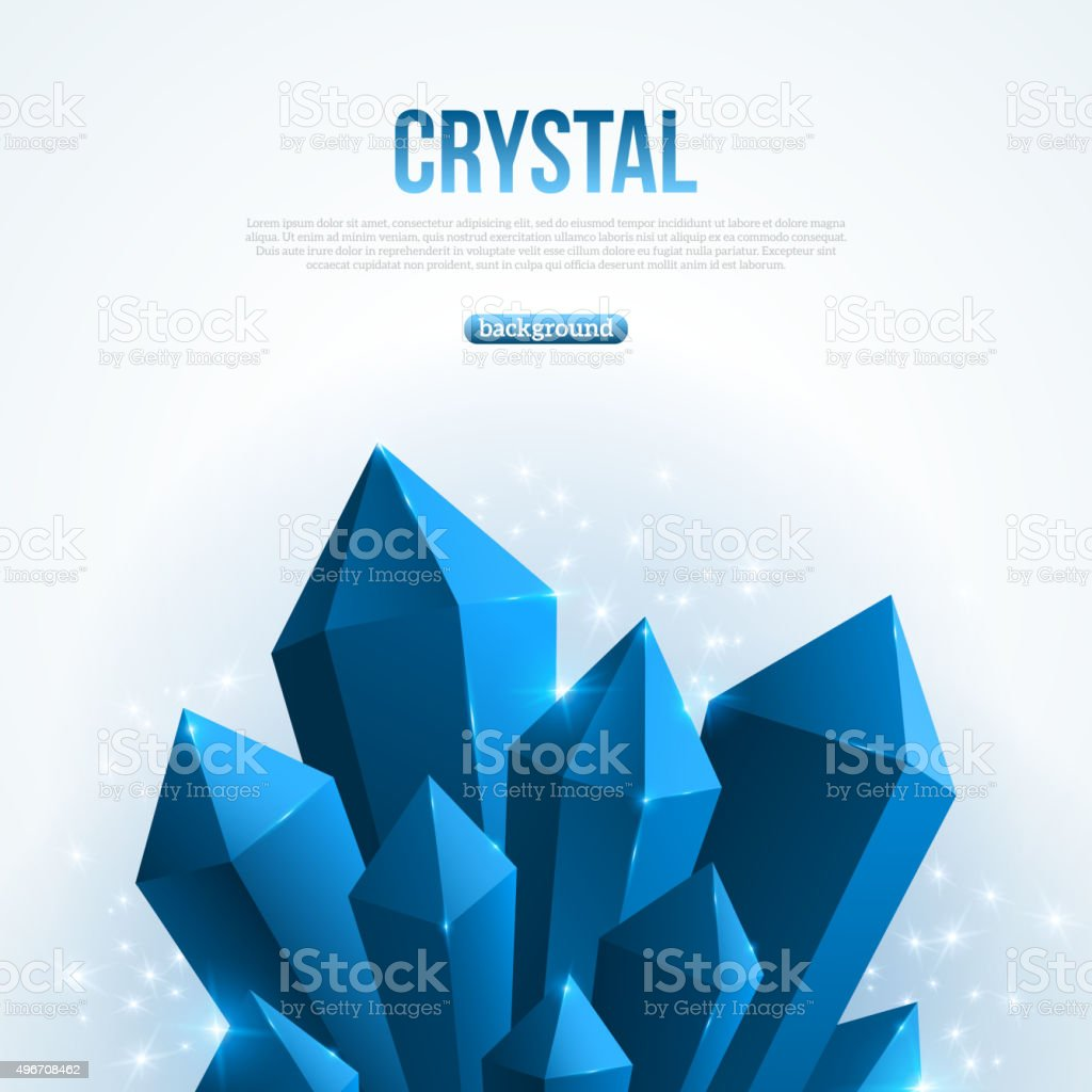 Blue abstract shining ice crystals background. vector art illustration
