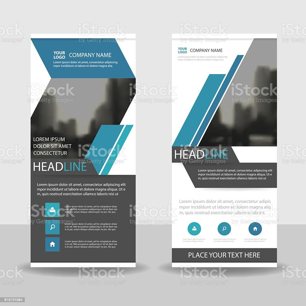blue abstract square business roll up banner flat design template 1 credit