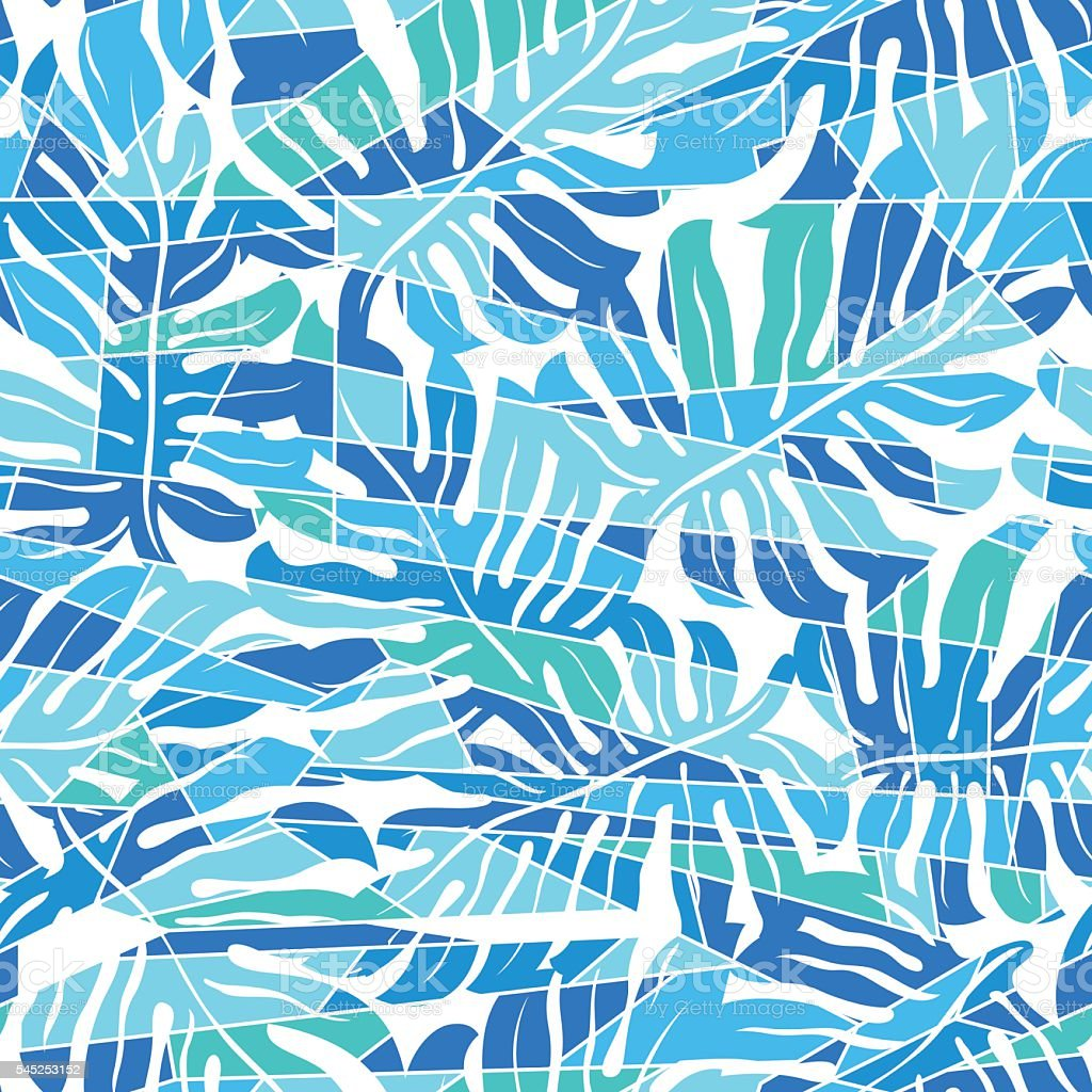 Blue abstract surf pattern in a seamless pattern vector art illustration