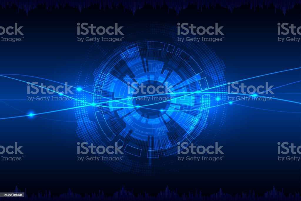 Blue abstract technological background. vector art illustration