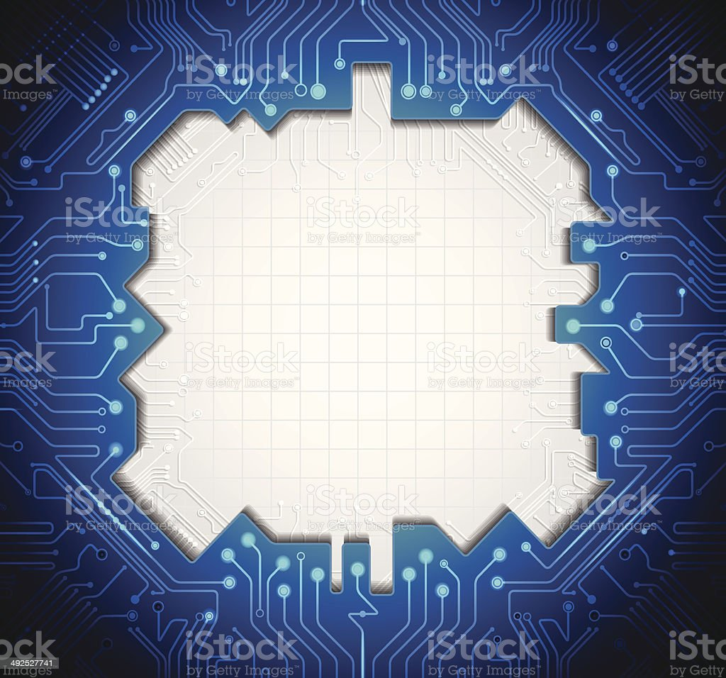 Blue abstract technology circuit  lines. with blank space for design. vector art illustration