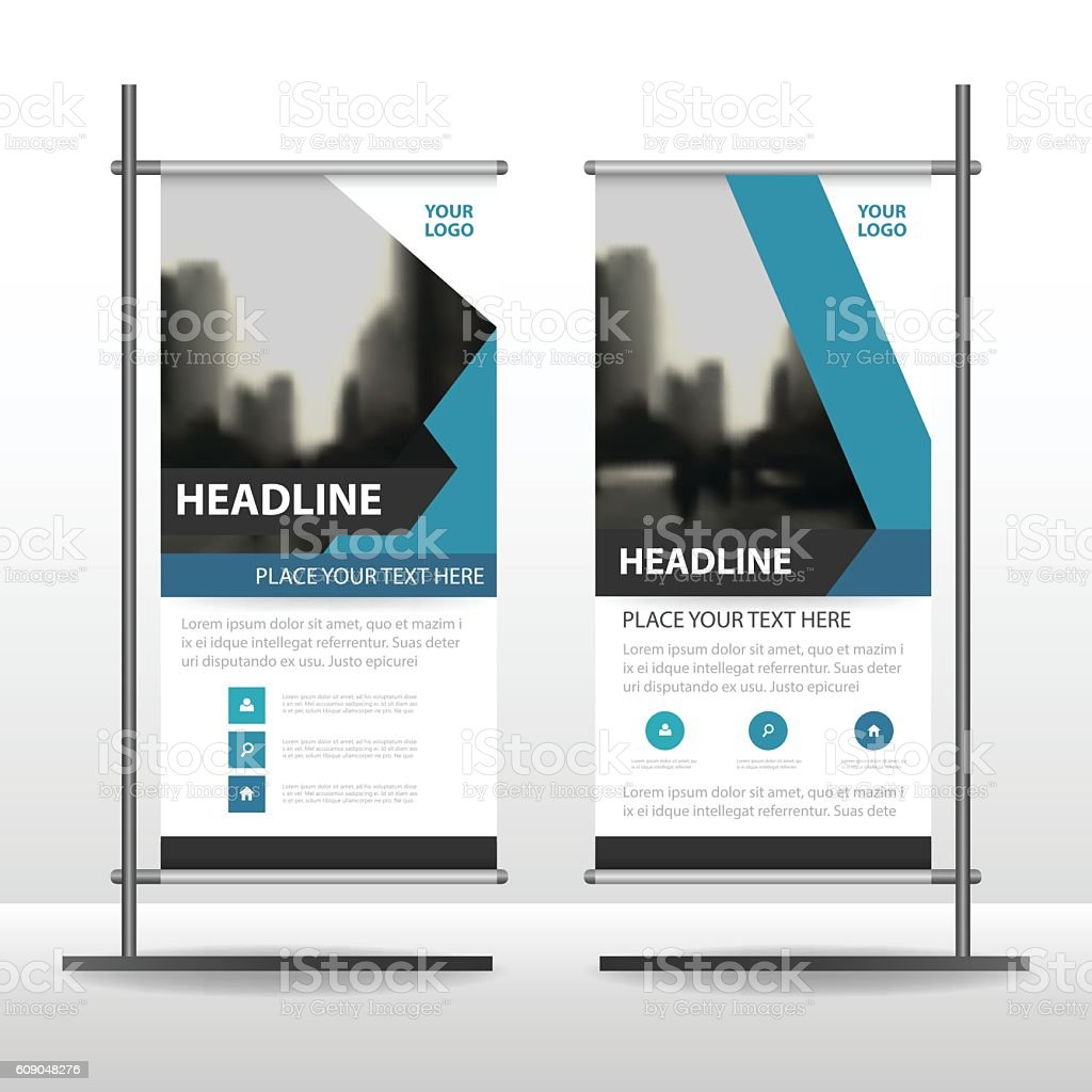 blue abstract triangle business roll up banner flat design 1 credit