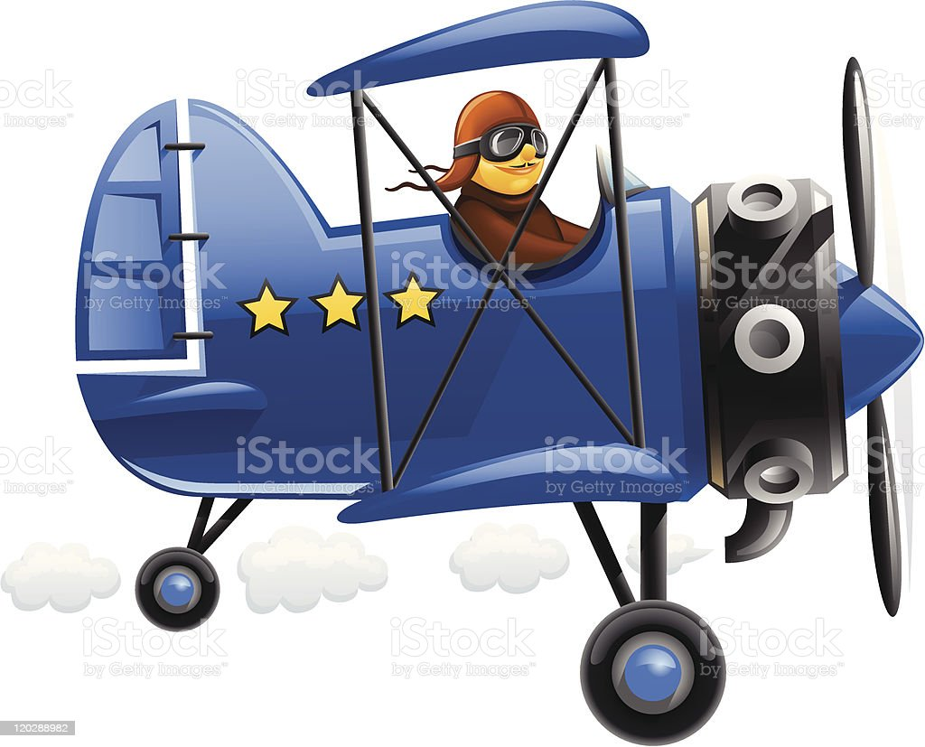 blue airplane with pilot vector art illustration