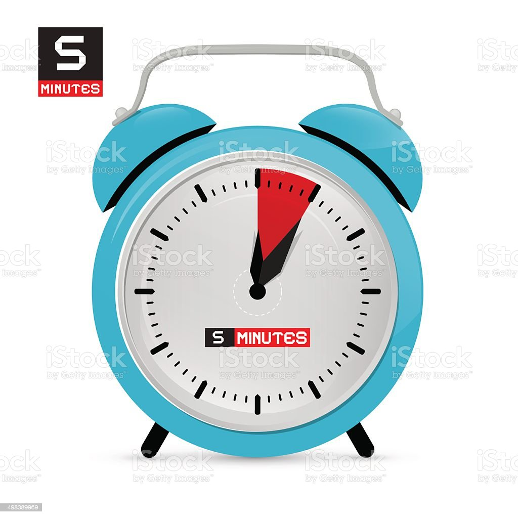 Blue Alarm Clock Vector Illustration vector art illustration