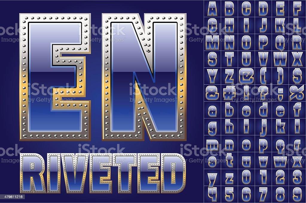 Blue Alphabet with Rivets vector art illustration