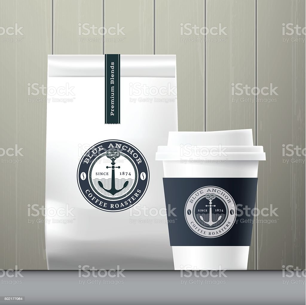 Blue anchor coffee cup and food paper bag breakfast set vector art illustration