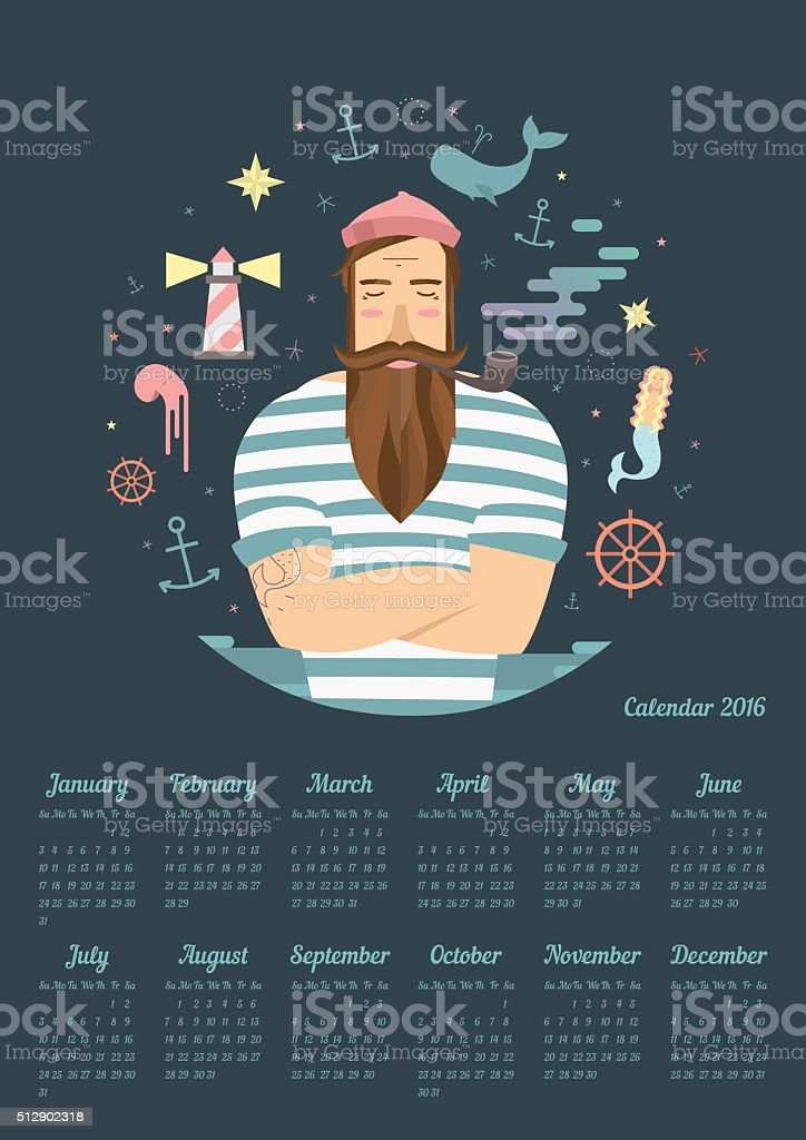 blue anchor on the calendar in 2016 vector art illustration