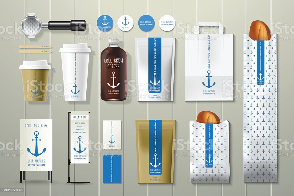 Blue anchors coffee shop corporate identity template design set vector art illustration