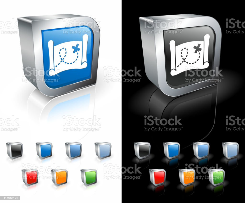 Blue and black 3D icons with treasure map in white on them. royalty-free stock vector art