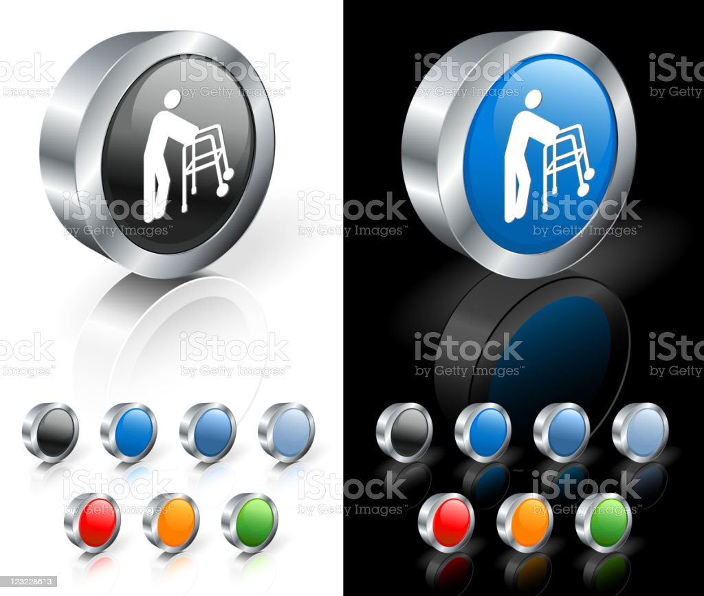 Blue and black 3D icons with white man with walker picture. royalty-free stock vector art