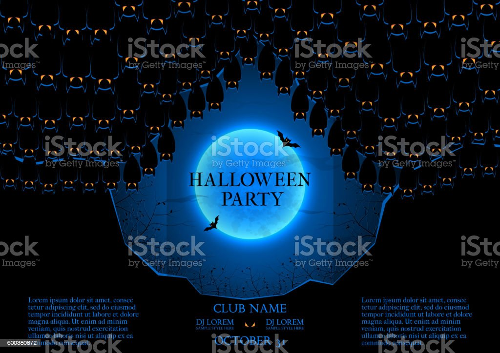 Blue and black booklet for Halloween party royalty-free stock vector art