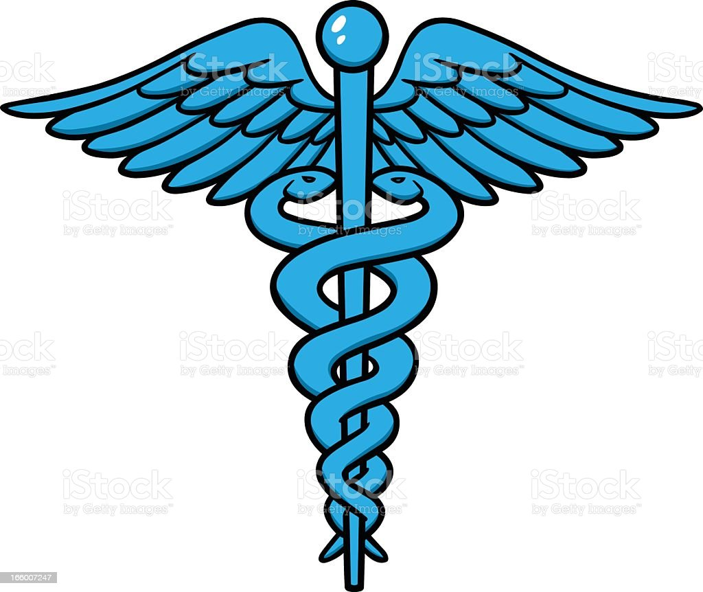 A blue and black caduceus symbol on white vector art illustration